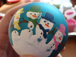 handprint snowman ball ornament fun family crafts