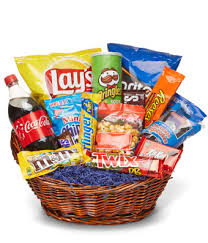food baskets deluxe junk food basket at from you flowers