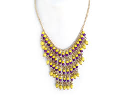 purple necklace chain images Purple yellow beaded layered chain necklace set jpg