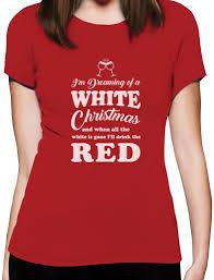 white christmas drinking red wine funny xmas gift women t shirt