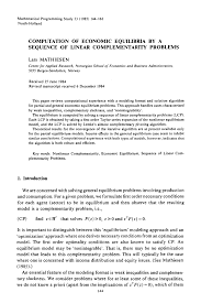 computation of economic equilibria by a sequence of linear