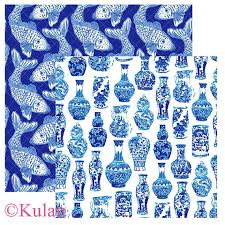 chinoiserie wrapping paper instant blue and white pink chinoiserie digital