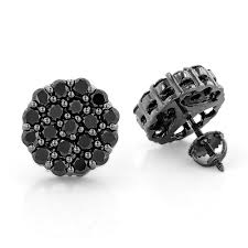 black earrings studs black diamond cluster earrings 3 5 ct 10k gold studs
