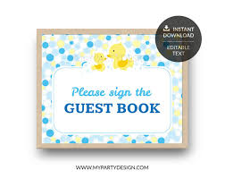 baby shower sign rubber duck baby shower printable guest book sign my party design