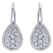diamond teardrop earrings gabriel 14k white gold teardrop diamond earrings