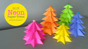 how to make easy small neon paper trees youtube