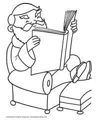 christmas santa coloring santa reading favorite book