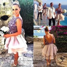 2016 summer beach short bridesmaid dresses floral appliques lace