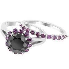 black and pink wedding ring sets black purple pink diamond halo matching engagement ring set