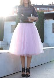 pink plain draped grenadine tulle high waisted plus size