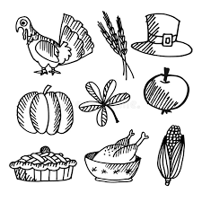 set of thanksgiving black sketches objects stock vector image