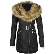 biker coat womens ladies faux leather fur collar long biker jacket parka coat