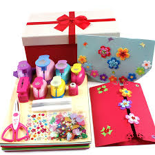 children diy handmade christmas card set flower gift printing