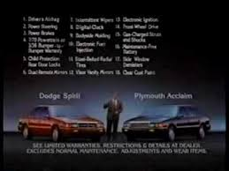 Dodge Spirit Plymouth Acclaim Chrysler 1991 Plymouth Acclaim U0026 Dodge Spirit Commercial Youtube