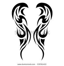 hand drawn tribal tattoo wings shape stock vector 308392226