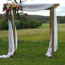 wedding arches hire rustic wedding arch this timber wedding arch with draping white