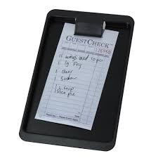 guest check tray black plastic check holder
