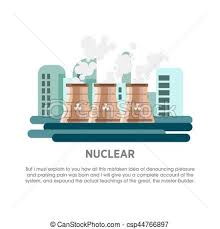 eps vectors of nuclear power station atomic reactor vector flat