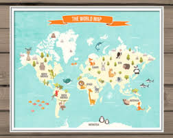 World Map Decal Etsy - Wall decals for kids room