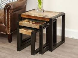 set of three end tables agra reclaimed wood furniture nest of three coffee tables set ebay