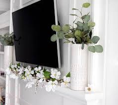 mantle decor simple spring farmhouse mantle