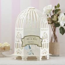birdcages for wedding ivory birdcage wedding card post box by