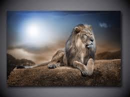 Lion Decor Home 1 Panel Modern Home Decor Framed Lion Pride Large Wall Canvas Art