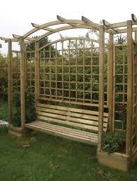 trellis arbour with planters