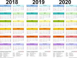 2018 2019 2020 calendar 4 three year printable pdf calendars