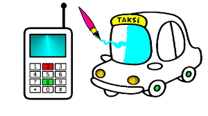 small taxi phone coloring pages learn colors kids