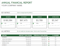 month end report template annual financial report office templates
