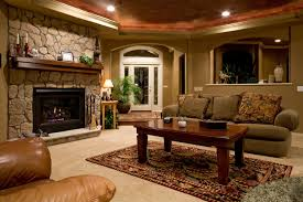 basement remodel ideas with pleasant sofa facing big screen plus