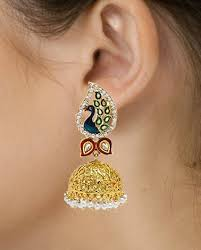 fancy jhumka earrings jewellery peacock gold plated pearl fancy party wear