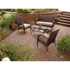 Outdoor Patio Conversation Sets by Mainstays Wicker 4 Piece Patio Conversation Set Seats 4 Walmart Com