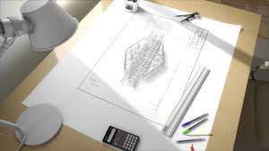 On The Drawing Board An Architects Drafting Table In D Building - Designer drafting table