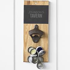 Bottle Opener Wall Mount Magnet Personalized Slate U0026 Acacia Wall Mount Beer Bottle Opener