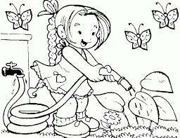 kids gardening coloring pages coloring