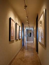 awesome long track hallway lighting over classy brown tile floor