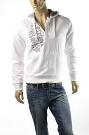guess white hoodie men u0027s sweatshirt evan slub pullover hooded