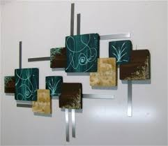 square wood wall decor teal brown contemporary abstract wood and metal wall hangings