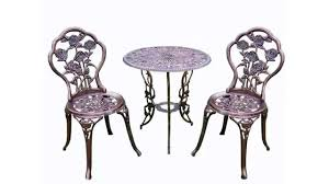 Iron Bistro Table Set Oakland Living 3 Piece Rose Bistro Set With 23 5 Inch Cast