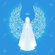 praying with ornamental white wings and glowing nimbus