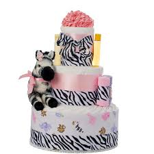 pink safari 3 tier diaper cake baby shower diaper cakes unique
