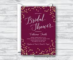 Bling Wedding Invitations Maroon Gold Bridal Shower Invitation Burgundy Merlot Invite Purple
