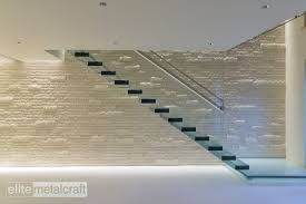 straight staircase glass steps without risers contemporary