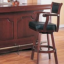 Bar Stool Chairs With Backs Amazon Com Coaster Bar Stool Chair With Swivel Black Leather Seat