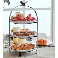 3 tier serving stand 3 tier serving stand dessert stoneware plates food cake fruits