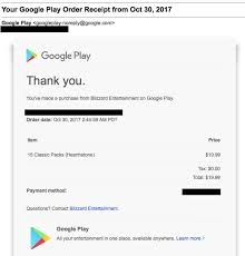 my google play order i paid 19 99 for 15 packs and never received my them blizzard is