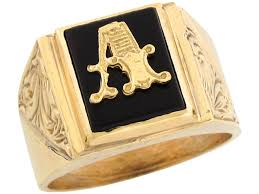 Initials Ring Real Gold 12x10mm Rectangle Onyx Letter A Fancy Mens Initial Ring