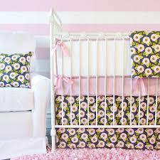Dahlia Nursery Bedding Set Pink Gray Dahlia Crib Bedding Set By Caden
